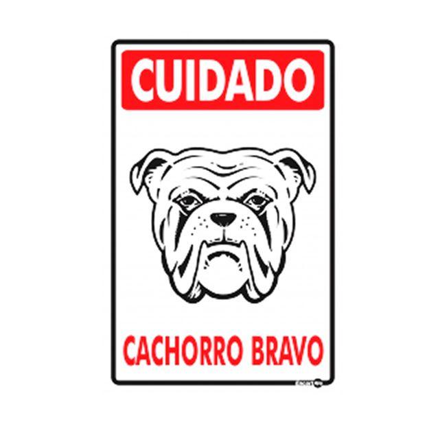 Placa-de-Sinalizacao-200x300mm-CUIDADO-CACHORRO-BRAVO-Ref-PS22-ENCARTALE-