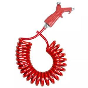 Mangueira-Espiral-em-PU-1-4-BSP-e-Bico-de-limpeza-de-Aluminio-Vermelho-LUBEFER