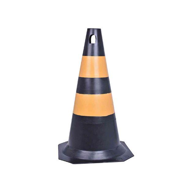 Cone-de-Sinalizacao-Preto--Amarelo-50cm-Ref-70001304-PLASTCOR