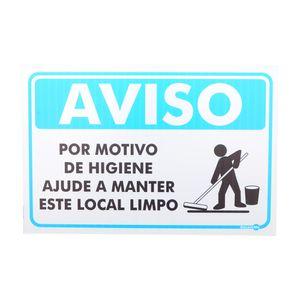 Placa-de-Sinalizacao-AVISO-POR-MOTIVO-DE-HIGIENE-AJUDE-A-MANTER-ESTE-LOCAL-LIMPO-Ref-PR4001-ENCARTALE-