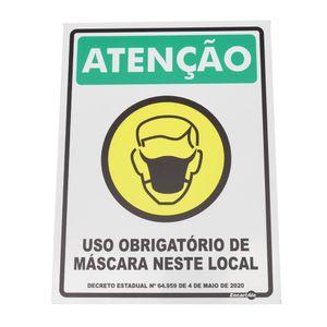 Placa-de-Sinalizacao-ATENCAO-USO-OBRIGATORIO-DE-MASCARA-NESTE-LOCAL-Ref-PS265-ENCARTALE-
