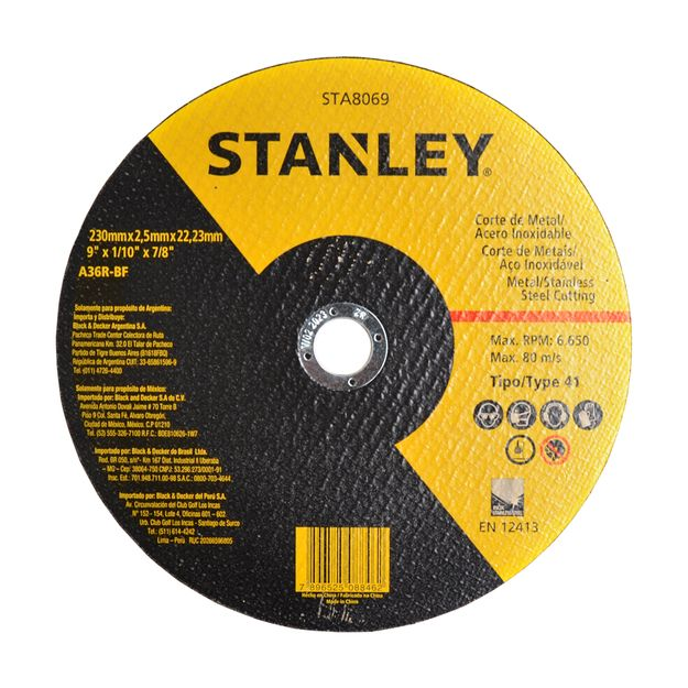 Disco-de-Corte-230x-25x-2223mm-Metal-e-Aco-Inoxidavel-Ref-STA8069-STANLEY
