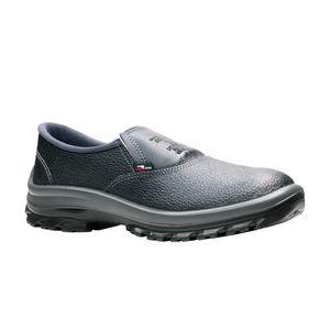 <p>Sapato-confeccionado-em-couro-fechamento-em-elastico-biqueira-de-aco-solado-bidensidade-injetado-direto-ao-cabedal.-Cor-preto.