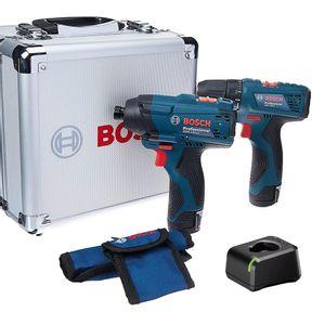 Combo-Parafusadeira-GSR120Li-e-Furadeira-GDR120Li-com-Case-de-Aluminiio-Carregador-Bateria-Brocas-e-Bits-BOSCH